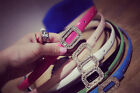 Fashion Women Sequins Buckle Candy Color Skinny PU Leather Belt Waistband