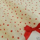 Ivory & red mini star Fabric 100 % cotton  per 1/2 mtr or  FQ Rose & Hubble