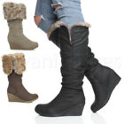 LADIES WOMENS WINTER FOLD OVER FUR ZIP MID WEDGE PLATFORM CALF BOOTS SIZE