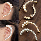Fashion Metallic Moon Shape Pearl Ear Cuff Wrap Clip Womens Earring Jewelry Gift