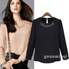 Vintage Women Casual Rhinestone Neck Party Chiffon Office T-Shirt Top Tee Blouse