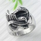 Punk Motor Biker Hawk Eagle Stainless Steel Band Men's Rings Carved Live to Ride