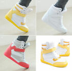 Hot Womens Velcro High Top Lace Up Wedge Heel Ankle Boots Sneakers Casual Shoes