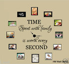 """TIME SPEND WITH FAMILY IS WORTH EVERY SECOND"" inspiration quote wall decal"
