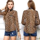 Autumn Women Sexy Leopard Printing Long Sleeve Casual Chiffon Tops Blouse Shirts