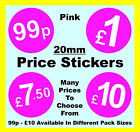20mm Pink Price Point Stickers / Sticky Labels / Swing Tag Labels £1, £5, £10