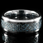 Silver Celtic Dragon Tungsten Carbide Blue Carbon Fiber Wedding Band Bridal Ring