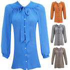 LADIES WOMEN PUSSY BOW BUTTON UP BOW BLOUSE PLUS SIZE 16 18 20 22 24 26 28 30 32