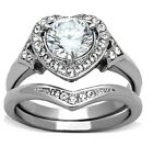 Womens New 3.5 Ct CZ Stainless Steel Halo Heart Wedding Band Ring Set Sizes 5-10