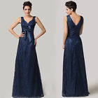 ❤Empire Line❤ Lace Evening Ballgown Bridesmaid Evening party Long Prom Dress DQ