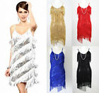 FLAPPER FRINGE 1920s GREAT GATSBY PARTY CHARLESTON SEQUIN LATIN DRESS - SMALL