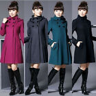 Warm Winter Womens Lady Wool Cashmere Noble Long Trench Jacket Coat UK EW