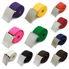 Charm Candy Colors Men Boy Unisex Plain Webbing Cotton Canvas Metal Buckle Belt