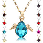Litte Angel Wing Water Drop 11 Colors Crystal White Yellow Gold GP Necklace