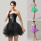 NEW Womens Girls Voile Short Prom Formal Bridesmaid Evening Ball Gown Dress 6-20