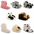 Womens Ladies Comfy Cosy Christmas Gift Soft Animal Novelty Slippers Size