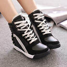 Women's Color Stitching Lace Up Rivet Spike Round Toe Lace Up Sneaker Shoes Size
