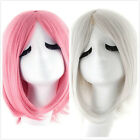 Women Mid Long Pink &Silver Gray Wavy Curly Hair Fashion Cosplay Party Wigs+Cap