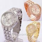 Fashion Unisex Geneva Bling Crystal Stainless Steel Quartz Wrist Watch 3 Colors