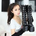 Gothic Rock Womens 2 Colors Punk Side Zip Lace Up  Platform Wedge Mid Calf Boots