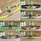 Fashion Candy Color Adjustable Leaves Skinny Buckle Leather Waist Belt Waistband