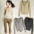 New Womens Cardigan Knitwear Jumper Pullover V Neck With Buttons Coat Tops Black
