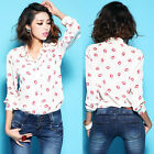 2014 Spring New Womens Lapel T Shirt Sexy Red Lip Print Style White Blouse Tops