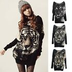 Womens Long Sleeve Knitted Sweater Casual Batwing Tiger Loose Tops Blouse New Q