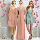 Wrapped V neck Ruched Skater Cocktail Bridesmaid Wedding party Maxi Day dress