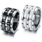 Mens Black/White Ceramic & Stainless Deform 5 Layers Width Wedding Band Ring NEW