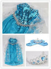 Disney Frozen Princess Queen Elsa Anna Cosplay Costume Party Girl's Fancy Dress