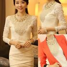 Sexy Womens Turtle Neck Sheer Lace Long Sleeve Tops T-Shirt Blouse Pullover New