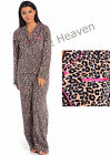 Ladies Fleece Leopard Pyjamas Print PJs Long Shirt Size 8 10 12 14 16 18 20 22