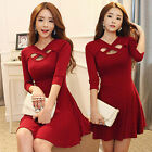 Sexy Cross Hollow Out Dress Women Autumn Winter Long Sleeve Casual Big Hem Dress