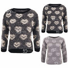 AI59 Ladies Fluffy Heart Knitted Pullover Womens Warm 3/4 Sleeve Jumper Sweater