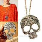 Retro Punk Rock Gothic Skull Pendant Long Chain Necklace Occident Jewelry Gifts