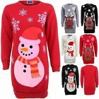 Women's Snowman Reindeer Rudolf XMAS Christmas Ladies Sleeve Sweatshirt Top