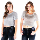 AI72 Ladies Gold/Silver Shiny Knitted Chain Metallic Womens Stretchy Crop Top