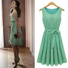 UK Ladies Green Chiffon BOHO Pleated Sleeveless Summer Mini Dress 8 10 12 14 16