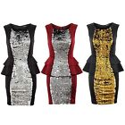 Women's Double Peplum Black Gold Silver Sequin Plain Back Ladies Bodycon Dress