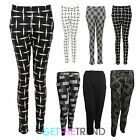 Womens New Tapered Check Plaid Print Plain Trousers Ladies Peg Leg Skinny Pants