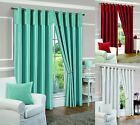 EYELET FULLY LINED READY MADE CURTAINS RING TOP PAIR WHITE BLUE RED CREAM