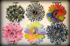 Gerbera Flower w Clip Gemstone Hair Bow Party Photo Prop Baby You Pick Print
