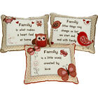 FAMILY CUSHIONS PILLOW SOFT CUDDLY MESSAGE GIFT SENTIMENTAL HOME SWEET MEMORY