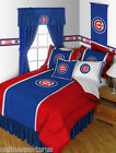 Chicago Cubs Comforter Sham Bedskirt & Pillowcase Set Twin to King
