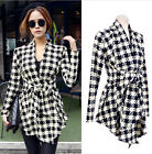 2014 Womens Fashion Plaid Check Slim Fit Coat Jacket Cardigans Outwear Overcoat