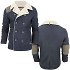 Mens Jacket Tokyo Laundry New Sherpa Lined Quilted Tweed Patch Warm Fleece Coat