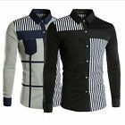 New Men Long Sleeve Dress Shirts Casual Shirt Stripe Patched Slim Fit  Fashion