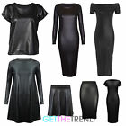 Womens Pvc Wet Look Short Sleeve Top Midi Skirt Pencil Skirt Faux Leather Dress
