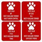 Keep Calm My Dog West Highland Terrier Square Fridge Magnet 4 Different Designs